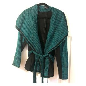 Green and black jacket with tie